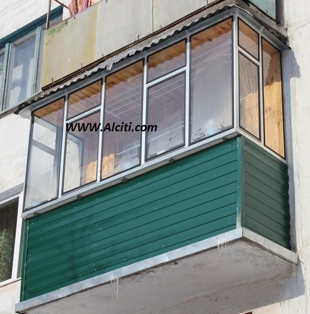 Остекление балконов алюминиевым профилем (на резиновом уплот.